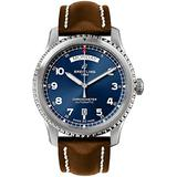 Breitling Aviator 8 Steel Men's Watch on Brown Leather Strap A4533010/CA10-495X
