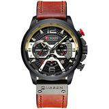 Watches for Men Brown Leather Strap Watch Classic Casual Dress Stainless Steel Waterproof Chronograph Date Analog Quartz Watch (Black)