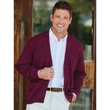 Men's John Blair® Cable Front Cardigan, Wine Red 3XL Tall