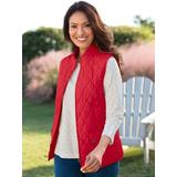 Women's Petite Quilted Solid Zip-Up Vest, Red P-S