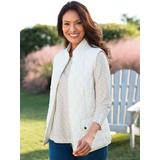 Women's Quilted Solid Zip-Up Vest, Cream White S Misses