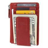 AslabCrew Money Clip, Front Pocket Wallet, Genuine Leather RFID Blocking Magnet Zipper Wallet, Nappa-Red