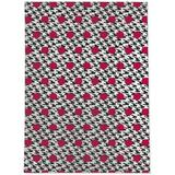 Ebern Designs Lili Power Loom White/Red/Black Rug Polyester in Black/Brown/Red, Size 84.0 H x 60.0 W x 0.08 D in | Wayfair