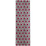 Ebern Designs Lili Power Loom White/Red/Black Rug Polyester in Black/Brown/Red, Size 96.0 H x 30.0 W x 0.08 D in | Wayfair
