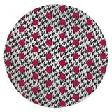 Ebern Designs Lili Power Loom White/Red/Black Rug Polyester in Black/Brown/Red, Size 60.0 H x 60.0 W x 0.08 D in | Wayfair