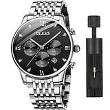 Mens Big Face Watches Luxury Dress Watch with Day and Date,OLEVS Mens Watches Black Dial Luminous Fashion Classic Stainless Steel Wristwatch Men's Waterproof Chronograph Quartz Wrist Watch