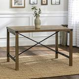 Walker Edison Lancaster Modern Farmhouse Trestle Style Metal X Dining Table, 48 Inch, Rustic Oak