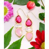 Kwanli Women's Earrings Pink - Moonstone & Raspberry Quartz Almeira Chandelier Drop Earrings