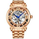Stuhrling Original Skeleton Watches for Men - Mens Automatic Watch Self Winding Mens Dress Watch - Mens Winchester 44 Elite Watch Mechanical Watch for Men (Rose/Gold)