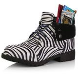 DailyShoes Ankle Boots with Laces for Women Ankle Pocket Boot Combat Boots Lace Up Shoes Flat Fall Slip Casual Soft Bottom Booties Fashion Money Wallet Zebra,sv,9, Shoelace Style Navy