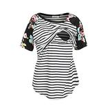 NIPINUS Cotton Nursing Shirts, Women Summer Striped Layered Comfy Nursing Top Shirt Relaxed Fit Round Neck Casual Maternity Nursing Clothing Breastfeeding Plus Size(Black,XX-Large)