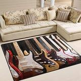 WIHVE Electric Guitar Area Rugs Carpet Modern Square Floor Mat for Kids Home Living Dining Room Playroom Decoration 4' x 5'3
