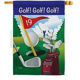 Breeze Decor Golf Golf!, Golf! House Flag Sports 18 Hole Ball Championship Club Entertainment Activity Physical Small Decorative Gift Yard Banner Made in USA 28 X 40