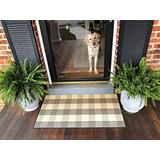 Ukeler Grey and White Plaid Rugs Cotton Hand-Woven Buffalo Check Rug Washable Laundry Room Rug/Kitchen Rugs and Mats, 23.6''x51.2''