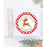 Chickabug Labels - Red & Green Rudolph Personalized Name Gift Labels - Set of 24