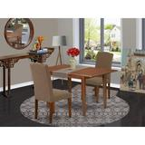 Winston Porter Arellanes 3 Piece Extendable Solid Wood Dining Set Wood/Upholstered Chairs in Brown, Size 30.0 H in | Wayfair