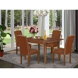 Winston Porter Mariia 5 Piece Extendable Solid Wood Dining Set Wood/Upholstered Chairs in Brown, Size 30.0 H in | Wayfair