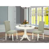 Winston Porter Avallone 3 - Piece Solid Wood Rubberwood Dining Set Wood/Upholstered Chairs in White, Size 29.5 H x 42.0 W x 42.0 D in | Wayfair