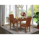 Winston Porter Iovanna 3 Piece Extendable Solid Wood Dining Set Wood/Upholstered Chairs in Brown, Size 29.0 H in | Wayfair