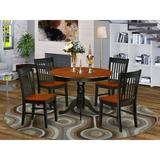 August Grove® Woll 5 - Piece Solid Wood Rubberwood Dining Set Wood in Black/Brown, Size 29.5 H x 42.0 W x 42.0 D in | Wayfair