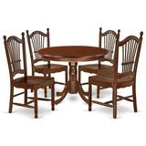 Winston Porter Jannet 5 - Piece Solid Wood Rubberwood Dining Set Wood in Brown/Red, Size 29.5 H x 42.0 W x 42.0 D in | Wayfair