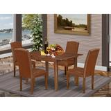 Winston Porter Saini 5 - Piece Extendable Rubberwood Solid Wood Dining Set Wood/Upholstered Chairs in Brown, Size 30.0 H in | Wayfair