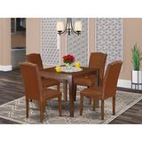 Winston Porter Hotz 5 Piece Solid Wood Dining SetWood/Upholstered Chairs in Brown, Size 30.0 H x 36.0 W x 36.0 D in | Wayfair