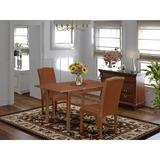 Winston Porter Colell 3 Piece Extendable Solid Wood Dining Set Wood/Upholstered Chairs in Brown, Size 30.0 H in | Wayfair