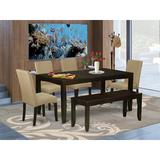 Winston Porter Curwood 6 Piece Extendable Solid Wood Dining Set Wood/Upholstered Chairs in Brown, Size 30.0 H x 36.0 W in   Wayfair