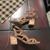 American Eagle Outfitters Shoes | Aeo Strappy Heeled Sandals | Color: Tan | Size: 9