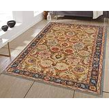 Allen Home Wool Rug 3'X5' Alvira Beige Tufted Persian Traditional Woolen Area Rug Carpet