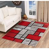 Glory Rugs Red Area Rug 5x7 Gray Abstract Modern Boxes Carpet Bedroom Living Room Contemporary Dining Accent Sevilla Collection 6614A (Grey Red)