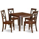 Winston Porter Thorfinn 5 - Piece Rubberwood Solid Wood Dining Set Wood in Brown, Size 30.0 H x 36.0 W x 36.0 D in   Wayfair