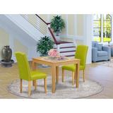 Winston Porter Bilbo 3 - Piece Solid Wood Dining Set Wood/Upholstered Chairs in Brown, Size 30.0 H x 36.0 W x 36.0 D in | Wayfair