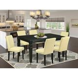 Winston Porter Sofian 7 Piece Extendable Solid Wood Dining Set Wood/Upholstered Chairs in Black, Size 30.0 H in | Wayfair