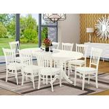 Winston Porter Kaibab 9 - Piece Butterfly Leaf Rubberwood Solid Wood Dining Set Wood in Brown, Size 30.0 H in   Wayfair