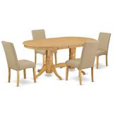 Winston Porter Vancel 5 - Piece Rubberwood Solid Wood Dining Set Wood/Upholstered Chairs in Brown, Size 30.0 H in | Wayfair