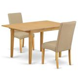 Winston Porter Habgood 3 Piece Extendable Solid Wood Dining Set Table Color: Oak, Chair Color: Dark Khaki, Wood/Upholstered Chairs/Solid Wood