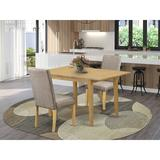 Winston Porter Habgood Rubberwood Solid Wood Dining Set Wood/Upholstered Chairs in Gray/Brown, Size 30.0 H in | Wayfair