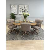 Red Barrel Studio® Ransome 5 - Piece Extendable Solid Oak Dining SetWood/Metal/Upholstered Chairs in Brown/Gray/Green, Size 30.0 H in | Wayfair