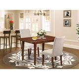 Winston Porter Habgood Rubberwood Solid Wood Dining Set Wood/Upholstered Chairs in Brown, Size 30.0 H in | Wayfair C5DE0BE2C0394FB1B43C0C6FF611295A