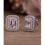 Inspired by You Women's Earrings Silver - Cubic Zirconia & Sterling Silver Emerald-Cut Stud Earrings