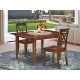 """3Pc Rectangular 42/54"""" Dining Table With 12 In Leaf And A Pair Of Wood Seat Kitchen Chairs"""