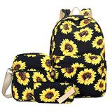 Sunflower Backpack for Women, FLYMEI Cute Backpack for Girls, Lightweight 15.6'' School Backpack with Crossbody Purse & Pencil Bag, Floral Backpack for Women, Sunflower Kids' Backpack