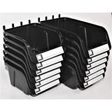 "WallPeg Pegboard Bins - 12 Pack - Hooks to Peg Board - Organize Hardware, Accessories, Workbench, Garage Storage, Craft Room, Tool Shed, (6 ea. 7"" & 6 ea. 5"" Bins)"