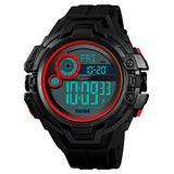 Men's Rubber Strap Multi-Function Waterproof Watch LED Digital Watch Screen Big face Military Watch Luminous Outdoor Sports Watch (Black red)