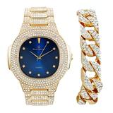 Bling-ed Out Midnight Blue Sky Oblong Metal Mens Gold Watch with Cuban - 8475C Gold Royal Blue Dx Dial