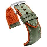 TIME4BEST Strap 19mm 20mm 21mm 22mm 23mm 24mm Distressed Green Leather Watch Band Strap Orange Rubber Pad Watch Band (24mm)