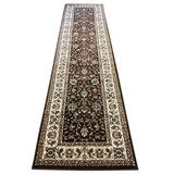 Traditional Long Persian Floral Runner Rug 330,000 Point Brown Burgundy & Beige Design 601 (31 Inch X 7 Feet 2 Inch)