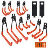 Garage Hooks, 12 Pack Wall Storage Hooks with 2 Extension Cord Storage Straps, Heavy Duty Tool Hangers for Utility Organizations, Wall Mount Holders for Garden Lawn Tools, Ladders, Bike (Orange)